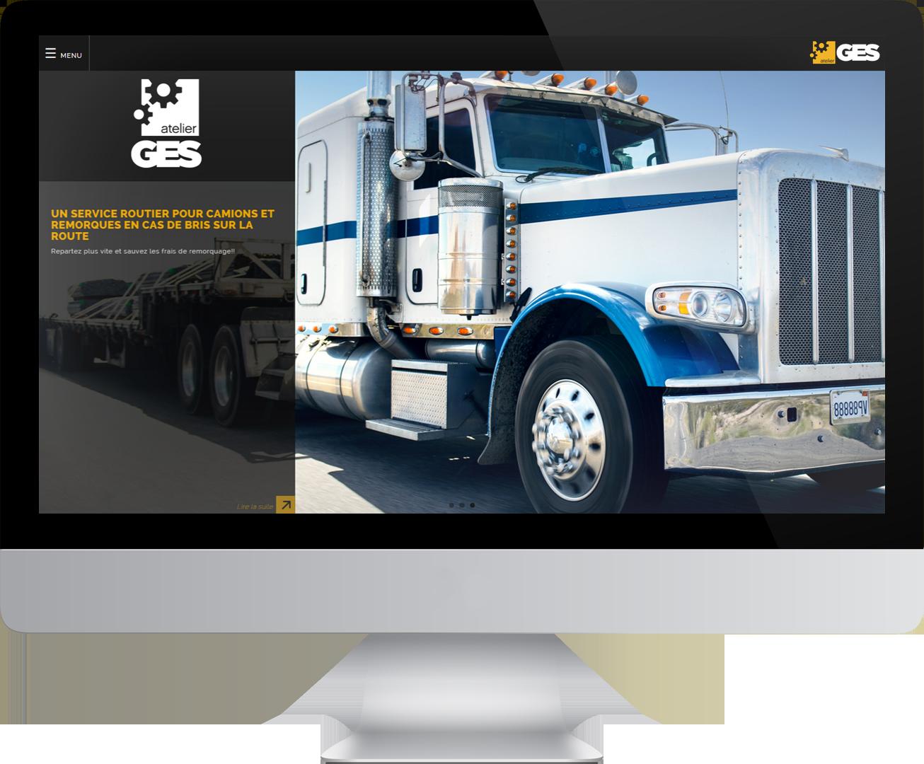 Écran d'ordinateur dans lequel on voit un camion lourd