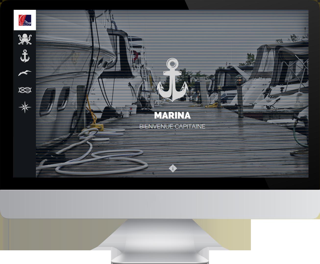 Écran d'ordinateur dans le quel on aperçoit la page de la marina du site du Nautique