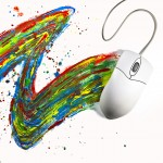 Souris d'ordinateur faisant une trainée de peinture artisite pour illustrer les tendances web design