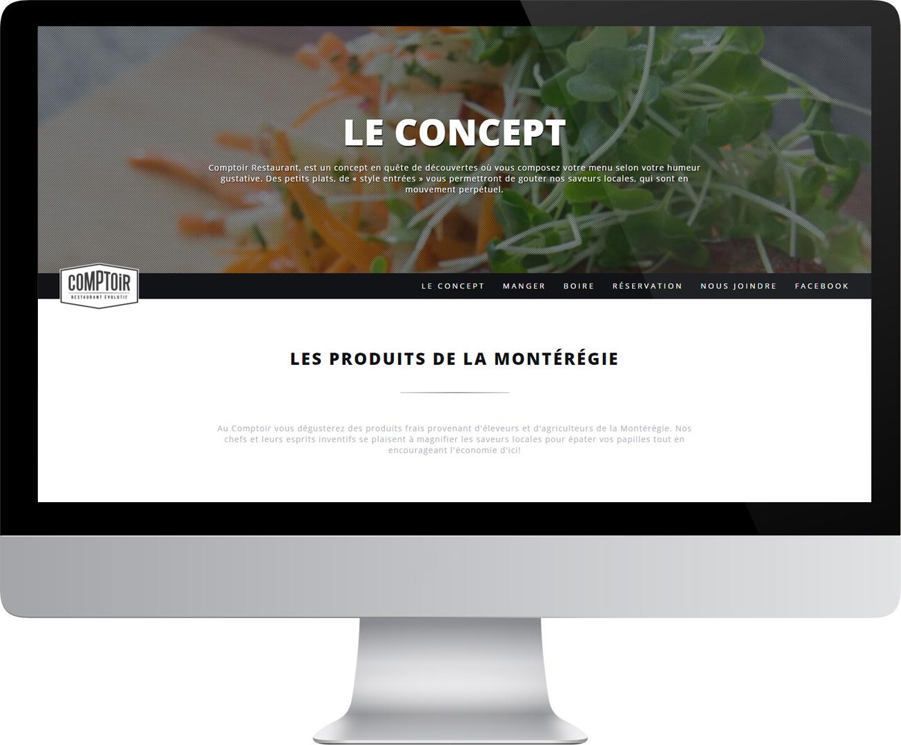 Site Web du Comptoir Restaurant dans un écran d'ordinateur
