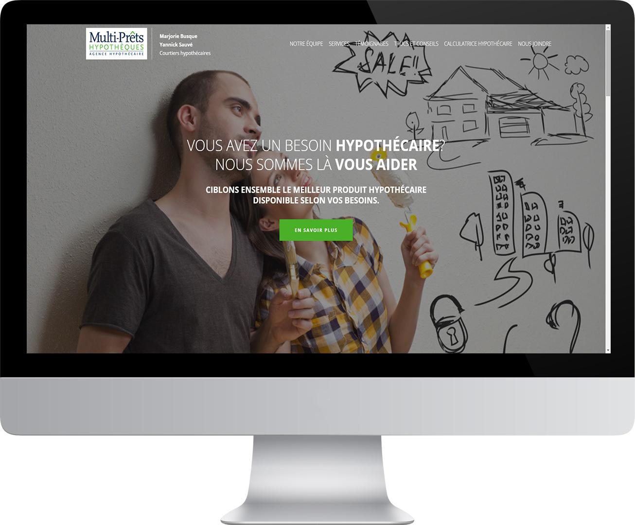 Site Web de Multi-Prêts Hypothèques dans un écran d'ordinateur